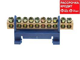 Шина СВЕТОЗАР нулевая, в изоляц оболочке, 6х9мм, 12 полюсов, макс. ток 100А (49805-12)