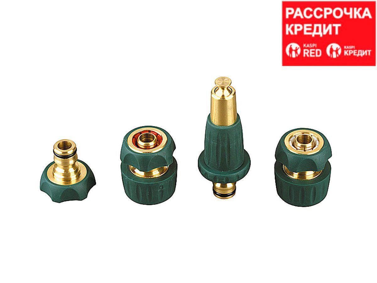 "RACO PROFI-PLUS. Набор поливочный (4 предм.): наконечник, адаптер, соединители 1/2"" х 3/4"", из латуни с TPR (4244-55147B)"