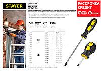"""Отвертка STAYER """"MASTER"""", двухкомпонентная рукоятка, магнитный наконечник, SL3,2x100мм"""