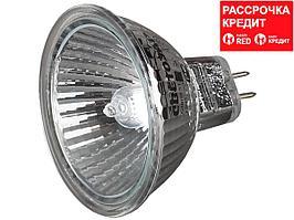 Лампа галогенная, СВЕТОЗАР, с защитным стеклом, алюм. отражатель, цоколь GU5.3, диаметр 51мм, 35Вт, 12В, SV-44733