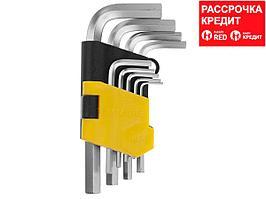 """Набор STAYER Ключи """"MASTER"""" имбусовые короткие, Cr-V, сатинированное покрытие, пластик. держатель, HEX 1,5-10мм, 9 пред (2740-H9)"""