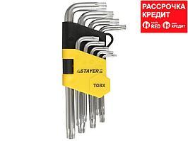"""Набор STAYER """"MASTER"""": Ключи имбусовые короткие, Cr-V, сатинированное покрытие, пластиковый держатель, Т10-Т50мм, 9 предметов (2743-H9)"""