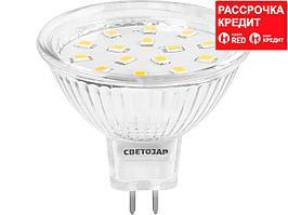 Лампа светодиодная, СВЕТОЗАР, LED technology, цоколь GU5.3, теплый белый свет (3000К), 220В, 3Вт (25), 44550-25_z01