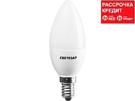 Лампа светодиодная, СВЕТОЗАР, LED technology, цоколь Е14, теплый белый свет (2700К), 220В, 5Вт (45), свеча, 44500-40_z01