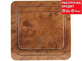 """Выключатель СВЕТОЗАР """"ГАММА"""" проходной, одноклавишный, цвет орех, 10A/~250B (SV-54137-N)"""