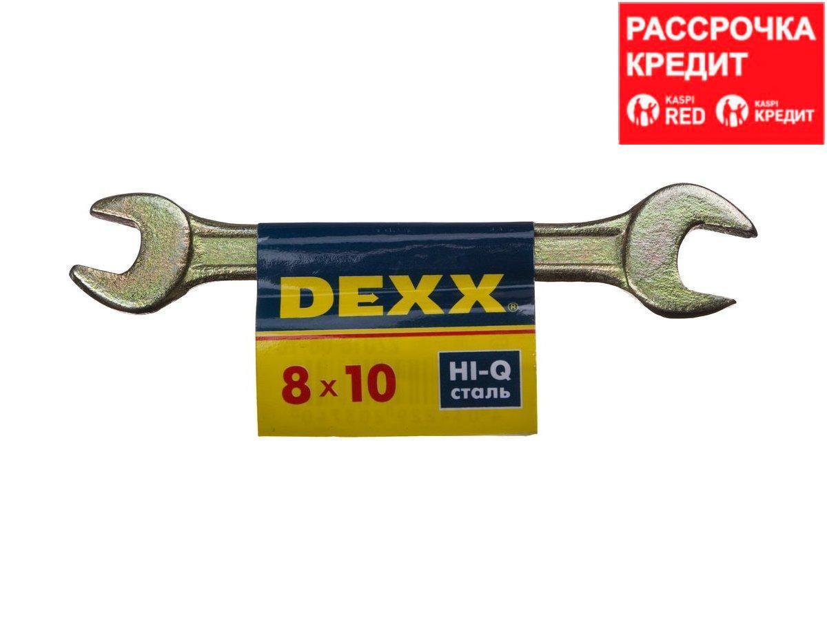 Ключ рожковый гаечный DEXX, желтый цинк, 8х10мм