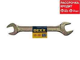 Рожковый гаечный ключ 17 x 19 мм, DEXX (27018-17-19)