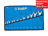 Набор рожковых ключей ЗУБР ПРОФИ, Cr-V сталь, хромированный, 6х32мм, 12шт, 27027-H12, фото 1
