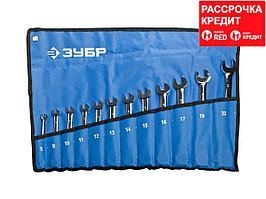 Набор комбинированных гаечных ключей трещоточных 12 шт, 8 - 22 мм, ЗУБР (27075-H12)