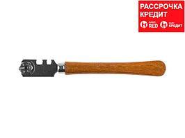 Стеклорез KRAFTOOL роликовый, 6 режущих элементов, с деревянной ручкой (3367_z01)
