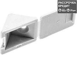 Уголок мебельный с шурупом, цвет белый, 4,0x15мм, 4шт, ЗУБР (4-308256-3)