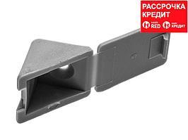 Уголок мебельный с шурупом, цвет св-серый, 4,0x15мм, 4шт, ЗУБР (4-308256-6)