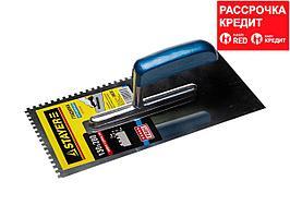 STAYER Profi 130х280 мм, 8х8 мм, гладилка штукатурная зубчатая нержавеющая с деревянной ручкой (0802-08)