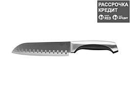 """Нож LEGIONER """"FERRATA"""" """"Сантоку"""", рукоятка с металлическими вставками, лезвие из нержавеющей стали, 175мм (47944)"""