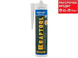 Герметик силиконовый KRAFTOOL белый, санитарный, для помещений с повышенной влажностью, 300мл (41255-0)