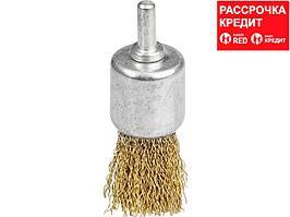 Щетка кистевая для дрели, витая стальная латунированная проволока 0,3мм, 24мм, STAYER, MAXClean (35113-24)