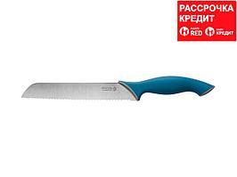 """Нож LEGIONER """"ITALICA"""" хлебный, эргономичная рукоятка, лезвие из нержавеющей стали, 200мм (47962)"""