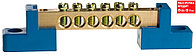 Шина СВЕТОЗАР нулевая на 2-х угловых изоляторах, макс. ток 100А, 5,2мм, 8 полюсов