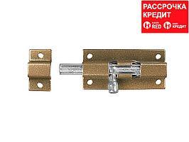 """Задвижка накладная для окон и мебели """"ШП-40 КМЦ"""", цвет коричневый металлик/цинк, 40мм (37753-40)"""