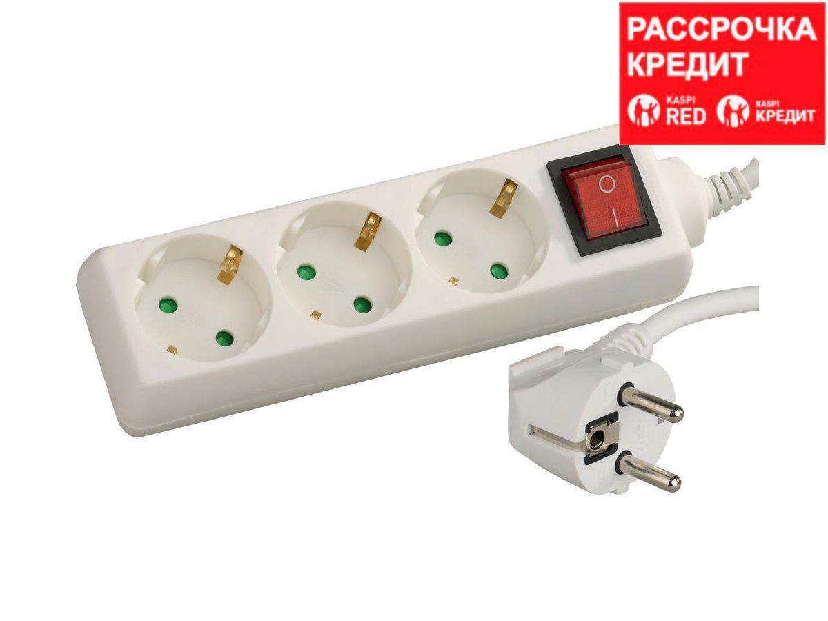 Удлинитель электрический СВЕТОЗАР с заземлением, выключателем, евро, с защитными шторками, 3 гнезда, 2м,