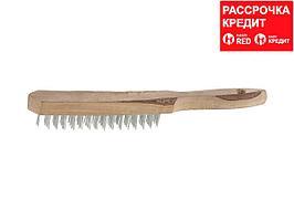 Щетка ТЕВТОН стальная с деревянной рукояткой, 6 рядов (3503-6)