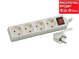 Удлинитель СВЕТОЗАР электрический с заземлением, выключателем, с защитными шторками, евро, 4 гнезда,2м (SV-55045-2)