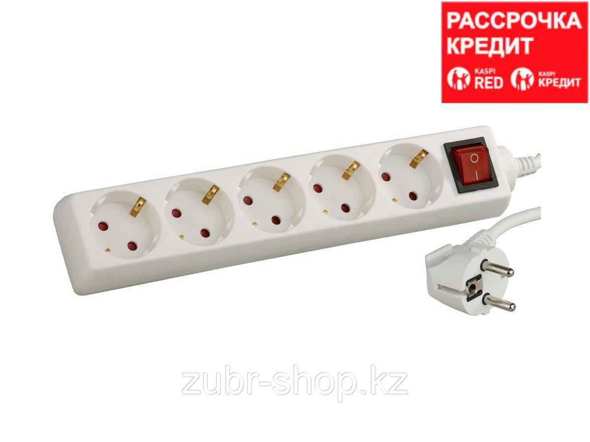 Удлинитель электрический СВЕТОЗАР с заземлением и выключателем, с защитными шторками, евро, 5 гнезд,5м, SV-55055-5