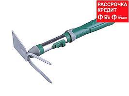 Тяпка мотыга RACO 4205-53516, садовая, прямое лезвие, рыхлитель 2 зубца, коннекторная система, 32 см