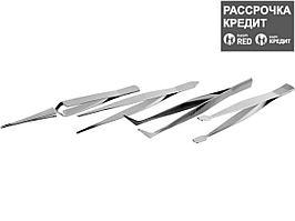Набор ЗУБР: Пинцеты, нержавеющая сталь, прямой, заостренные губки, изогнутый, самозажимной прямой, плоские и широкие губки, 120мм (22215-H4)