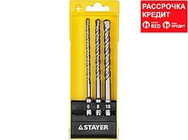 STAYER Набор буров SDS-plus 3 шт: 6 x 160, 8 x 160, 10 x 160 мм (29250-H3)