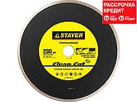 Clean Cut 230 мм, диск алмазный отрезной сплошной по керамограниту, мрамору, плитке, STAYER Professional (3665-230_z01)