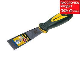 Шпательная лопатка KRAFTOOL с 2-компонент ручк, профилиров нержав полотно, 40мм (10035-040)