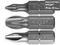 Набор бит для шуруповерта ЗУБР 26009-PH-H3, биты  кованые, хромомолибденовая сталь, тип хвостовика C 1/4, 25 мм, PH1, PH2, PH3, 3 предмета