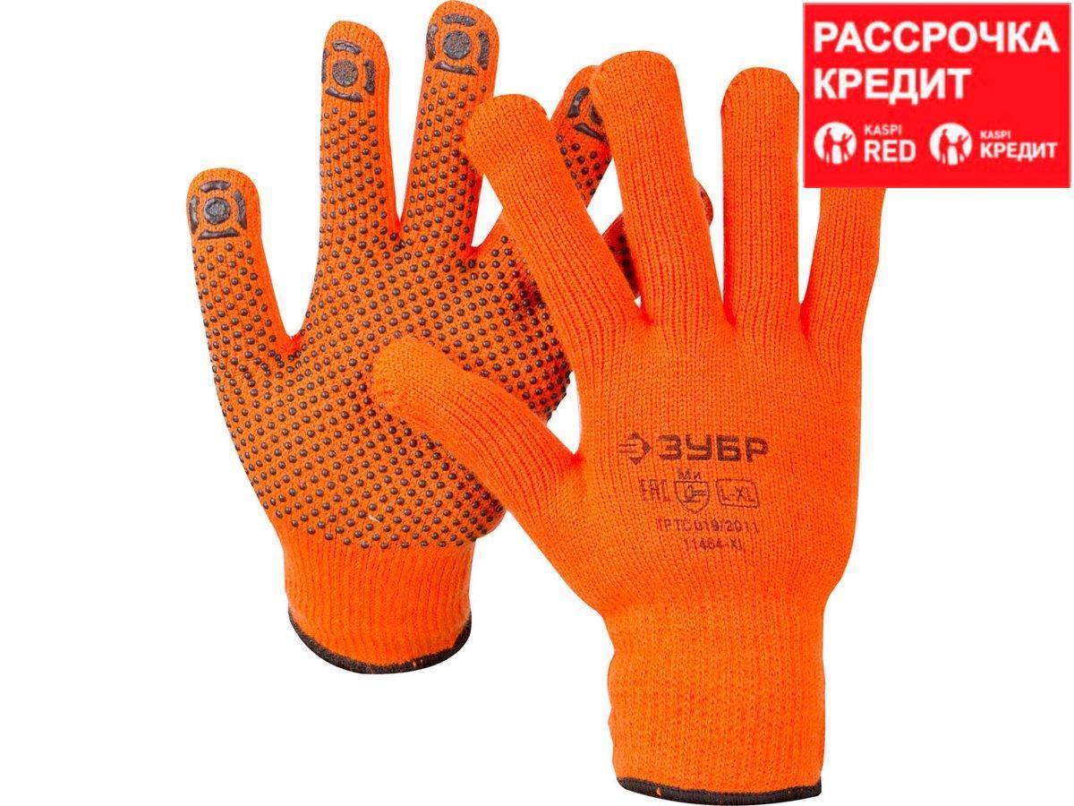 ЗУБР АНГАРА, размер L-XL, перчатки утепленные с начёсом, акриловые, с ПВХ покрытием (точка). (11464-XL)