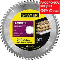 """Пильный диск STAYER """"MASTER"""" для ламината, 250x30, 60Т, ( 3684-250-30-60 ), фото 1"""