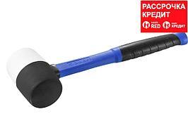 Киянка резиновая ЗУБР 20532-450, ПРОФЕССИОНАЛ черно-белая, с фиберглассовой ручкой, 450 г