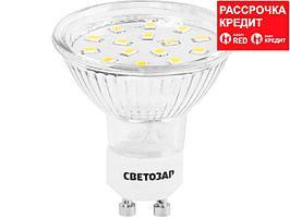 Лампа светодиодная, СВЕТОЗАР, LED technology, цоколь GU10, теплый белый свет (3000К), 220В, 3Вт (25), 44560-25_z01