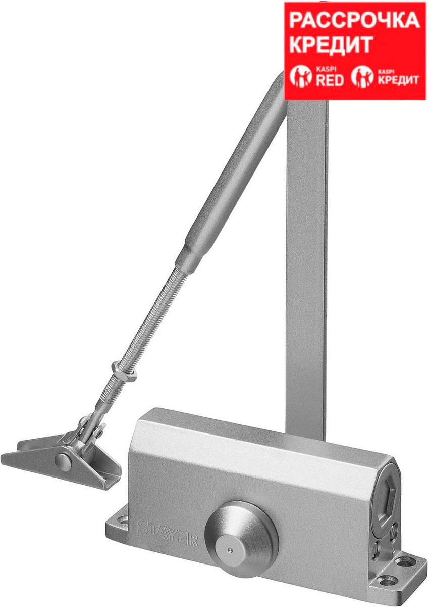 Доводчик дверной STAYER, для дверей массой до 80 кг, цвет серебро (37915-80)