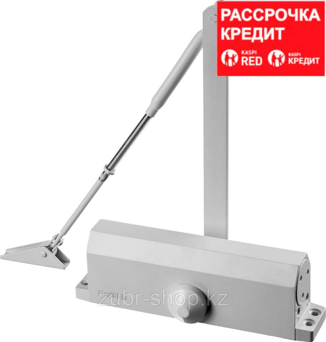 Доводчик дверной STAYER, для дверей массой до 100 кг, цвет белый (37916-100)