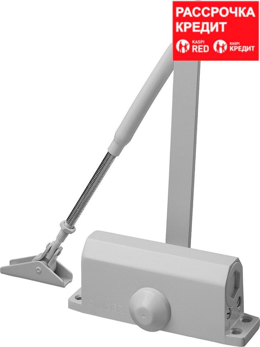 Доводчик дверной STAYER, для дверей массой до 80 кг, цвет белый (37916-80)