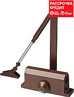 Доводчик дверной STAYER, для дверей массой до 80 кг, цвет коричневый (37917-80)