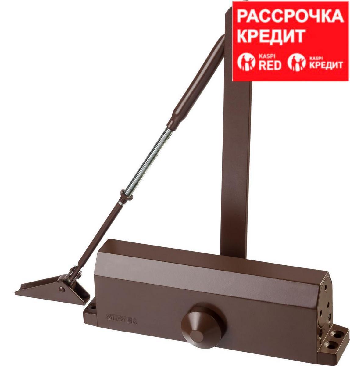 Доводчик дверной STAYER, для дверей массой до 100 кг, цвет коричневый (37917-100)