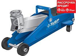 ЗУБР Т-50-K 2т 130-380мм подкатной домкрат с увеличенным подъемом в кейсе, Профессионал (43052-2-K)