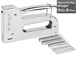 """Степлер для скоб """"Универсал 14"""" 6-в-1: тип 53 (6-14 мм) / 140 (8-14 мм) / 53F (8-14 мм) / 13 (6-14 мм) / 300 (16 мм) 500 (16 мм), ЗУБР Профессионал"""