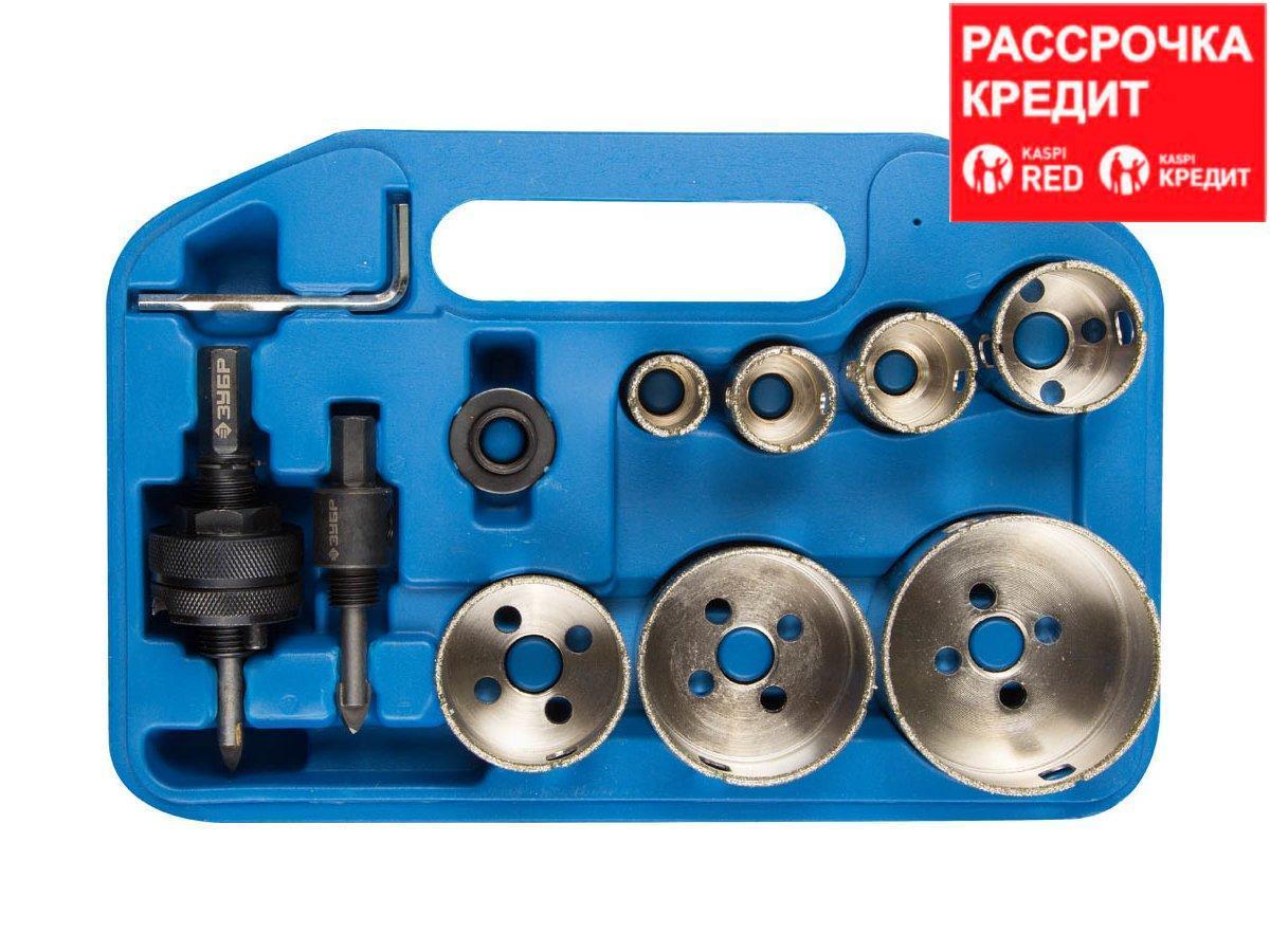 Алмазная буровая коронка набор ЗУБР 29870-H7, ЭКСПЕРТ, с оснасткой, переходник, D 19, 25, 28, 35, 45, 55, 65 мм, 7 предметов