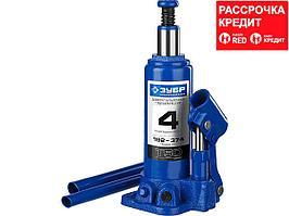 ЗУБР 4т, 192-374мм домкрат бутылочный гидравлический, Профессионал (43060-4_z01)