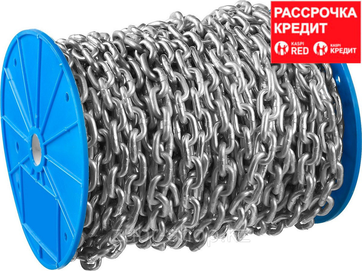 Цепь короткозвенная, DIN 766, оцинкованная сталь, d=2мм, L=200м, ЗУБР Профессионал (4-304050-02)