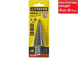 STAYER 4-30мм, 14 ступеней, сверло ступенчатое, сталь HSS (29660-4-30-14)