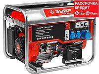 Бензиновый электрогенератор ЗУБР ЗЭСБ-6200-Э, двигатель 4-х тактный, ручной и электрический пуск, 6200/5700Вт,