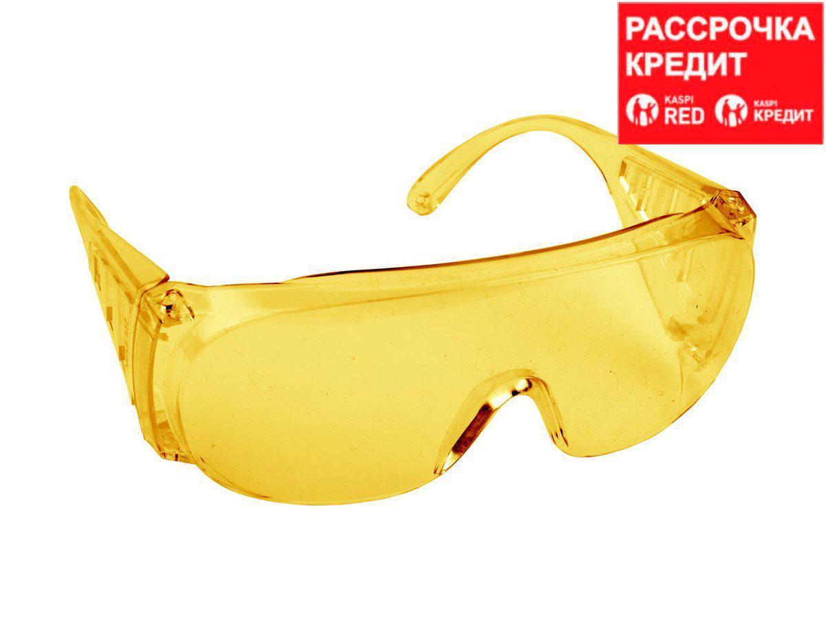 Очки защитные открытого типа, желтые, с боковой вентиляцией, DEXX. (11051)
